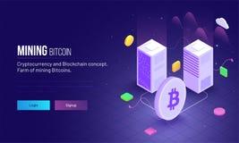 La vue isométrique de deux serveurs se relient au betwee de symbole de Bitcoin illustration stock