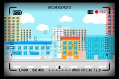 La vue moderne de ville avec le viseur réflexe d'appareil-photo de photo signe illustration stock