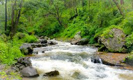 La vue naturelle de la rivière de narmada traverse sauvage image stock