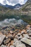 La vue panoramique étonnante des lacs Musalenski et le Musala font une pointe, montagne de Rila Photo stock