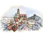 La vue panoramique de l'aquarelle de la Slovaquie illustration stock