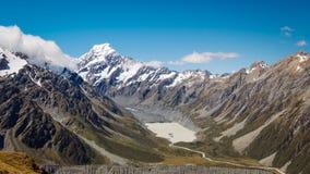La vue panoramique de la vallée de talonneur et le Mt font cuire, NZ photographie stock libre de droits