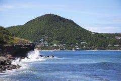La vue pittoresque de la baie de Lorient chez St Barts, Antilles françaises Image stock