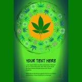 La vue pour le texte avec l'image colorée du cannabis part Images libres de droits