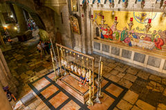La vue sainte d'intérieur d'église de sépulture. Images libres de droits