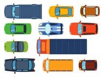 La vue supérieure aérienne sur le transport d'automobile différent de collecte de jouets colorés de voiture et le transport de ro illustration libre de droits