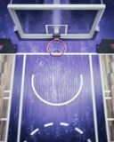 La vue supérieure brouillée sur le cercle de basket-ball 3d rendent Photographie stock