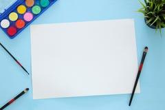La vue supérieure de l'art d'artiste assure le fond Copiez l'espace Images stock