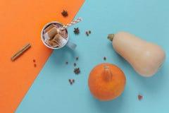 La vue supérieure de l'orange d'automne et la sarcelle d'hiver dénomment le cacao avec les guimauves et l'épice de potiron image libre de droits