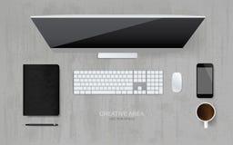 La vue supérieure de l'ordinateur avec l'objet de bureau a placé dans le secteur d'espace de fonctionnement illustration de vecteur