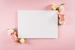 La vue supérieure de la carte de voeux et de l'eustoma vides d'offre fleurit Image stock
