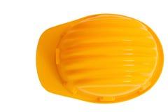 La vue supérieure de la sécurité, casque de protection de construction a isolé le petit morceau Images libres de droits