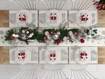 La vue supérieure de Noël a décoré la table par jour rendu 3d Photographie stock
