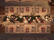 La vue supérieure de Noël a décoré la table par nuit rendu 3d Photographie stock libre de droits