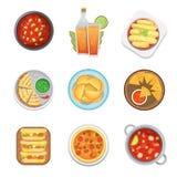 La vue supérieure de nourriture traditionnelle mexicaine plaque une illustration de vecteur de cuisine de sauce à déjeuner illustration libre de droits