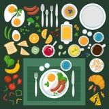 La vue supérieure de petit déjeuner, icônes de vecteur a placé, style plat Illustration de Vecteur