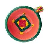 La vue supérieure de la poterie a peint la tasse handcrafted colorée photographie stock