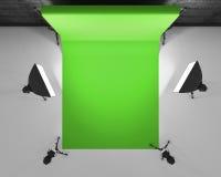 La vue supérieure greenscreen le studio avec le lightbox et le softbox Goujon de film illustration libre de droits