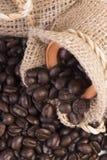 La vue supérieure a rôti des grains de café dans des sacs à chanvre d'isolement sur le blanc Images libres de droits