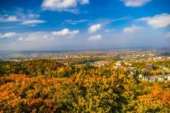 La vue supérieure sur la forêt et le Carlovy varient à l'automne Image libre de droits