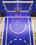 La vue supérieure sur le cercle de basket-ball 3d rendent Photo libre de droits