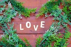 La vue supérieure sur les lettres en bois expriment le ` d'AMOUR de `, coeur fait de beaucoup usine sur le fond en bois Photos stock