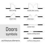 La vue supérieure, symboles de construction utilisés dans l'architecture prévoit, des éléments de conception graphique Illustrati Photo stock