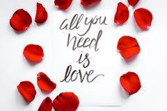 La vue supérieure toute de modèle floral de calligraphie que vous avez besoin est amour Image stock