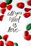 La vue supérieure toute de modèle floral de calligraphie que vous avez besoin est amour Images libres de droits
