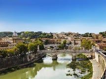 La vue sur Rome du ` Angelo de Castel Sant Photo libre de droits