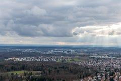 La vue sur Stuttgart de tour de télévision en Allemagne Images libres de droits