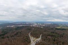 La vue sur Stuttgart de tour de télévision en Allemagne Image libre de droits
