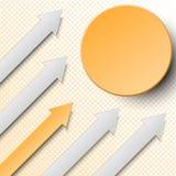 la vue verticale de flèche de papier de connexion orange et gris de 3d avec le cercle et l'image tramée pointille pour la concept Image stock