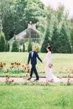 La vue verticale de la promenade des nouveaux mariés en parc Photos libres de droits