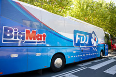 La vuelta 2012 - BUS of FDJ TEAM Stock Photo