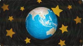 La vuelta en colores pastel del globo de la tierra del planeta de la historieta en estrellas espacia hecho a mano único calidad i ilustración del vector