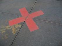 La x rossa contrassegna il punto Fotografia Stock