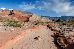 La Yesera地质结构,干燥小河,萨尔塔,阿根廷 图库摄影