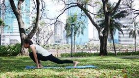 La yoga asiática joven de la mujer al aire libre guarda calma y medita mientras que practica yoga para explorar la paz interna almacen de video
