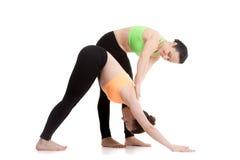 La yoga con el instructor, abajo persigue actitud de la yoga Foto de archivo libre de regalías