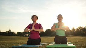 La yoga de las mujeres que medita en actitud del loto da gastos indirectos metrajes
