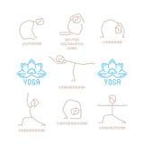 La yoga plantea el ejemplo del vector en la mono línea estilo stock de ilustración