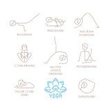 La yoga plantea el ejemplo del vector en la mono línea estilo libre illustration