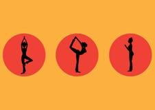 La yoga plantea el sistema del icono, sano, ejemplos del vector ilustración del vector