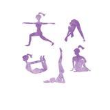 La yoga plantea iconos de las siluetas Fotos de archivo