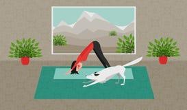 La yoga practicante de la mujer joven El perro blanco que se estira en la misma posición Actitud boca abajo del perro - Adho Mukh Imágenes de archivo libres de regalías