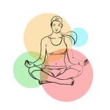 La yoga presenta, los pantalones de la yoga en un fondo coloreado Foto de archivo libre de regalías
