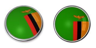 la Zambie de bouton de drapeau illustration libre de droits