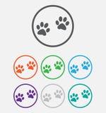 La zampa animale stampa la zampa delle icone, icona di web Vettore Immagine Stock Libera da Diritti