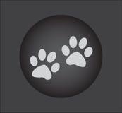 La zampa animale stampa le icone, icona di web Tasto nero Fotografie Stock Libere da Diritti